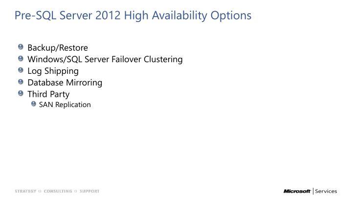 Pre-SQL Server 2012 High Availability Options