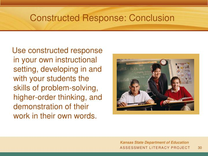 Constructed Response: Conclusion
