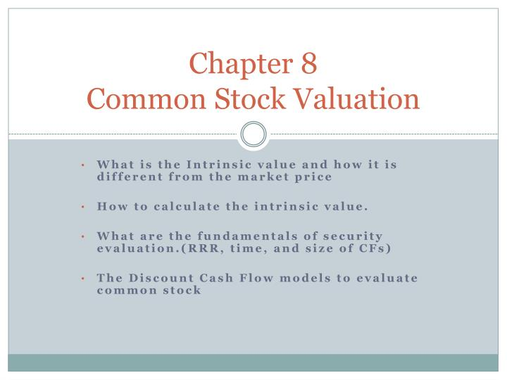 Chapter 8 common stock valuation