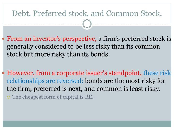 Debt, Preferred stock, and Common Stock.