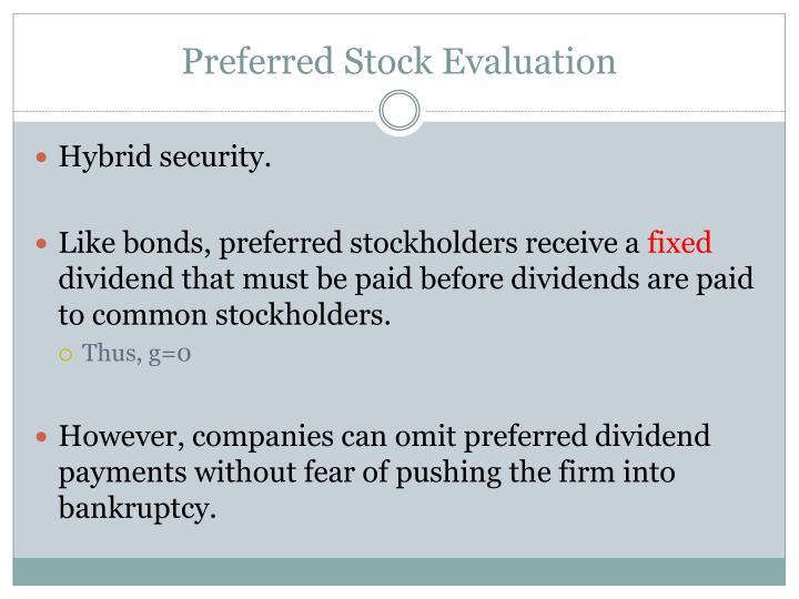 Preferred Stock Evaluation