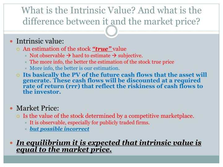 What is the Intrinsic Value? And what is the difference between it and the market price?