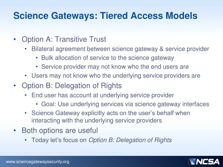 Science Gateways: Tiered Access Models