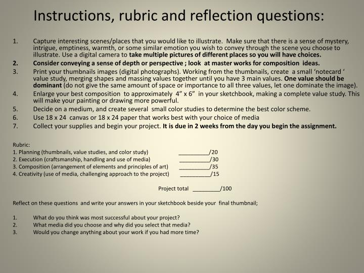 Instructions, rubric and reflection questions: