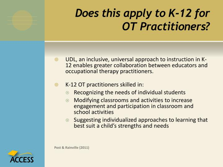 Does this apply to K-12 for OT Practitioners?