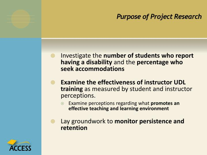 Purpose of Project Research