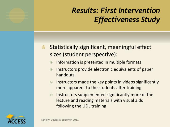 Results: First Intervention Effectiveness Study