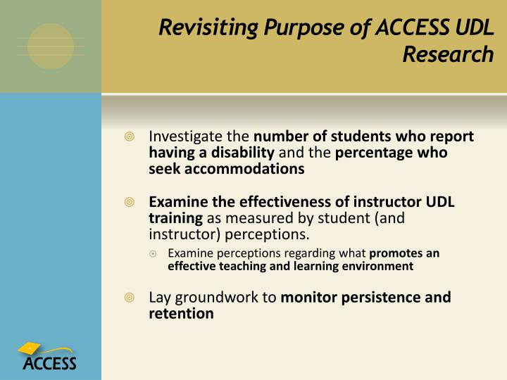 Revisiting Purpose of ACCESS UDL Research