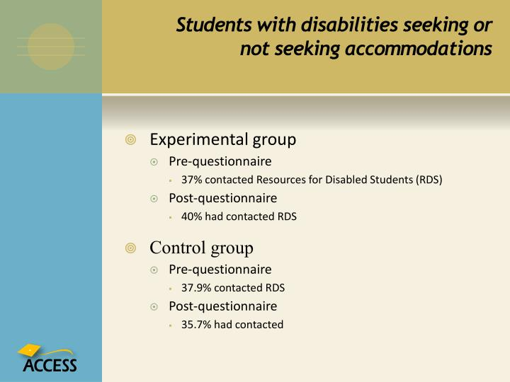 Students with disabilities seeking or not seeking accommodations