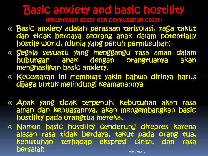 Basic anxiety and basic hostility