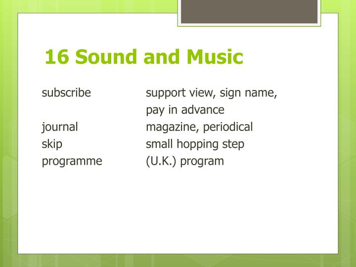 16 Sound and Music