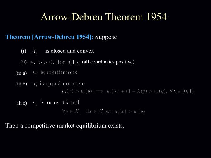 Arrow-Debreu Theorem 1954