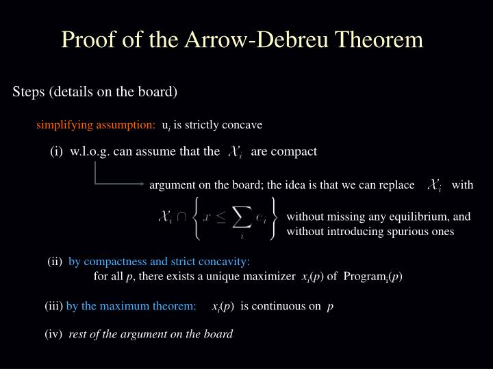 Proof of the Arrow-Debreu Theorem