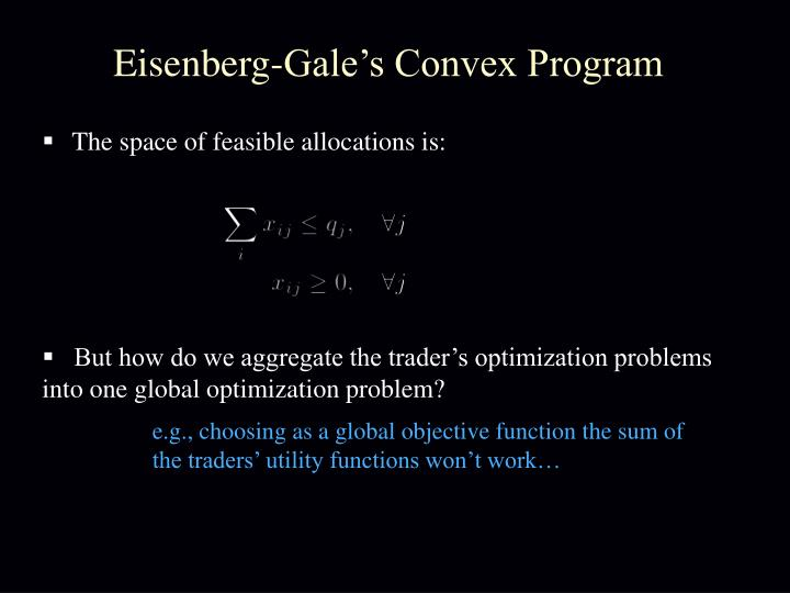 Eisenberg-Gale's Convex Program