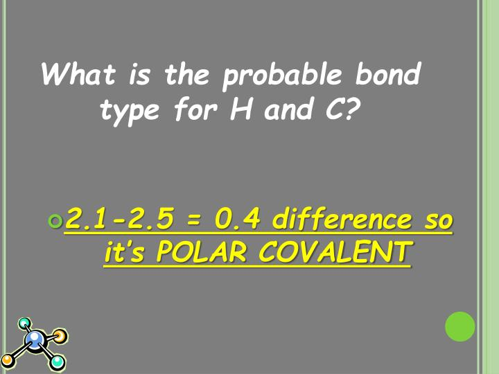 What is the probable bond type for