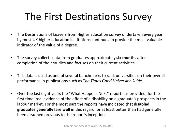 The First Destinations Survey
