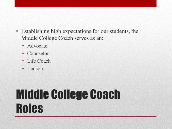 Establishing high expectations for our students, the Middle College Coach serves as an: