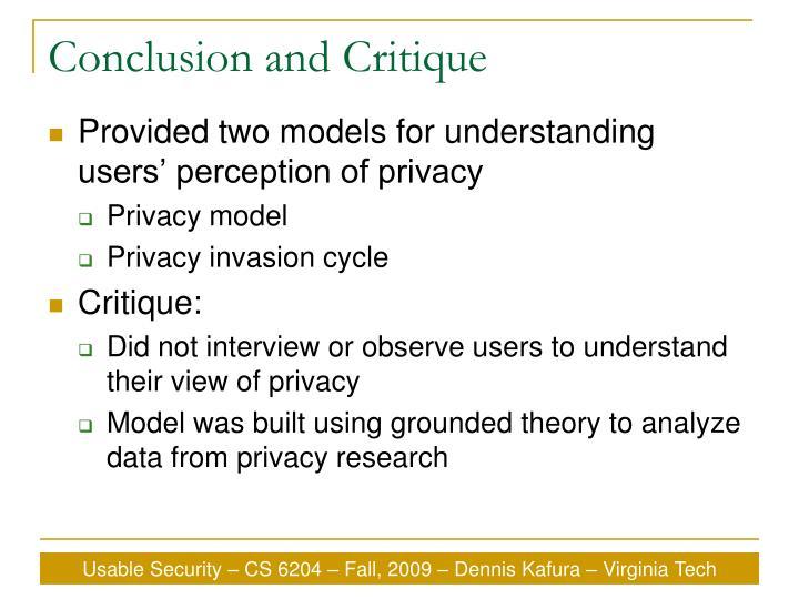 Conclusion and Critique