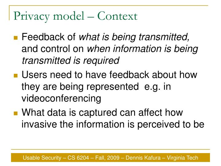 Privacy model – Context