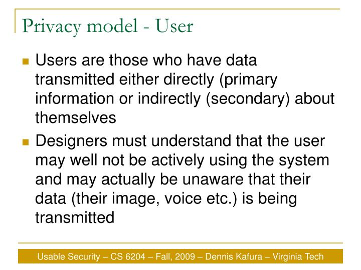 Privacy model - User