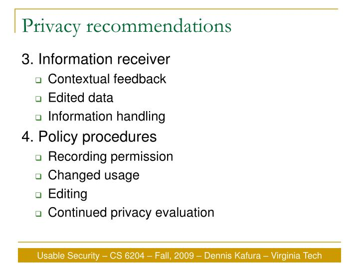 Privacy recommendations