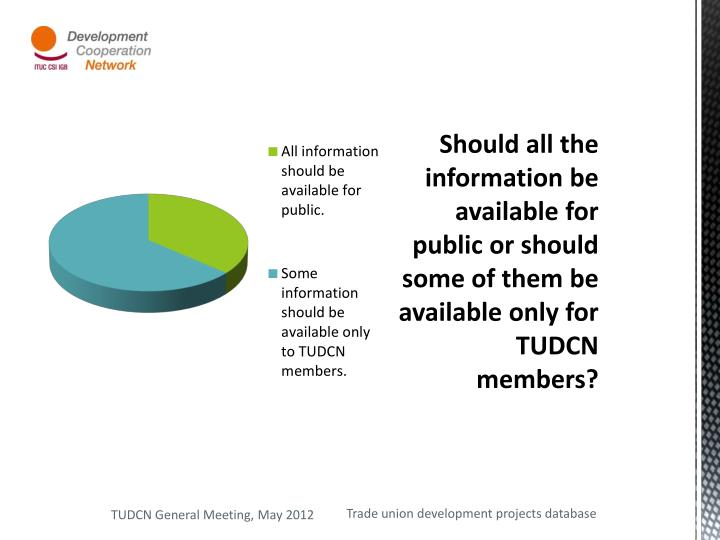 Should all the information be available for public or should some of them be available only for TUDCN members?