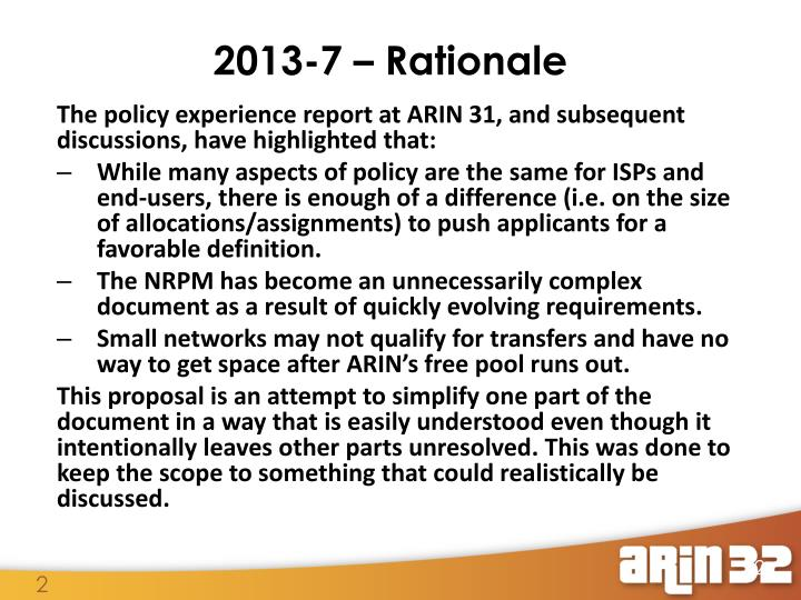 2013 7 rationale