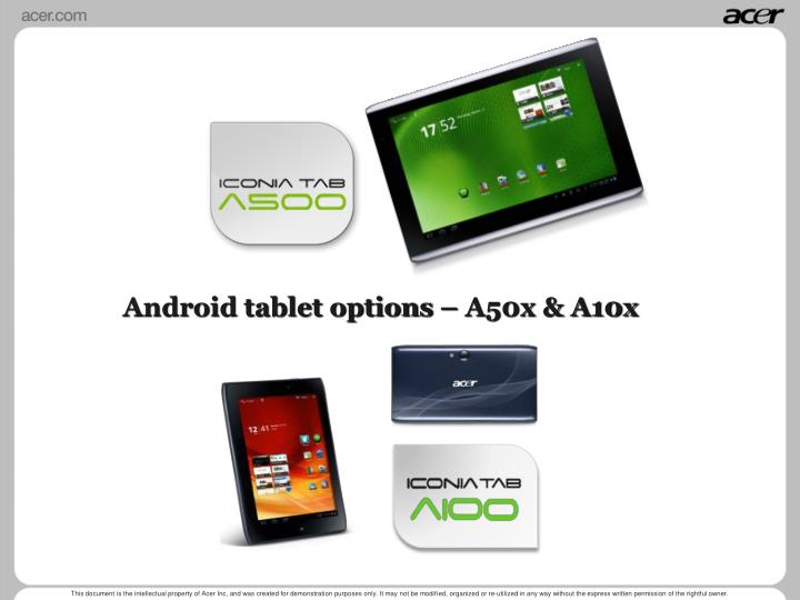 Android tablet options – A50x & A10x