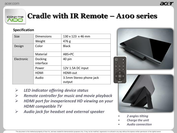 Cradle with IR Remote – A100 series