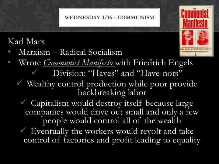 Wednesday 4/16 – Communism