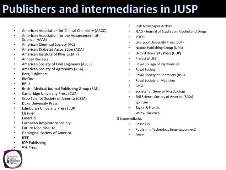 Publishers and intermediaries in JUSP