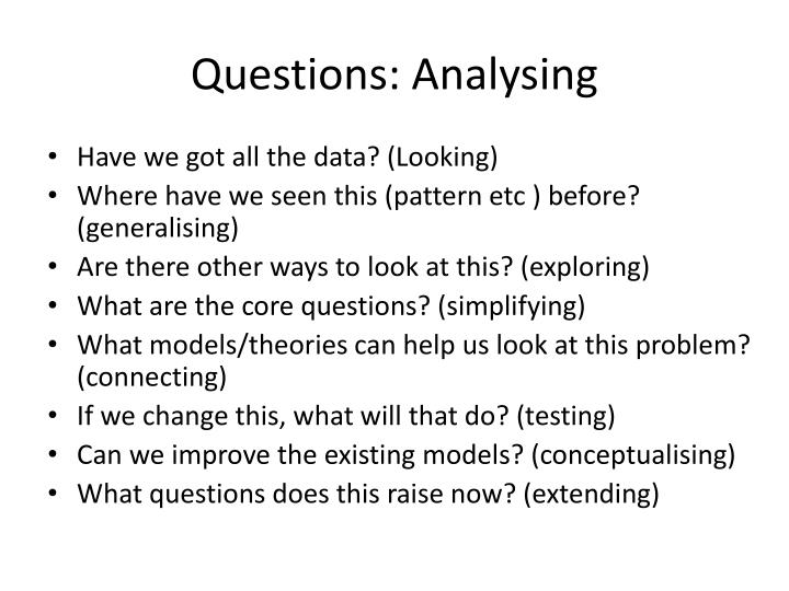 Questions: Analysing