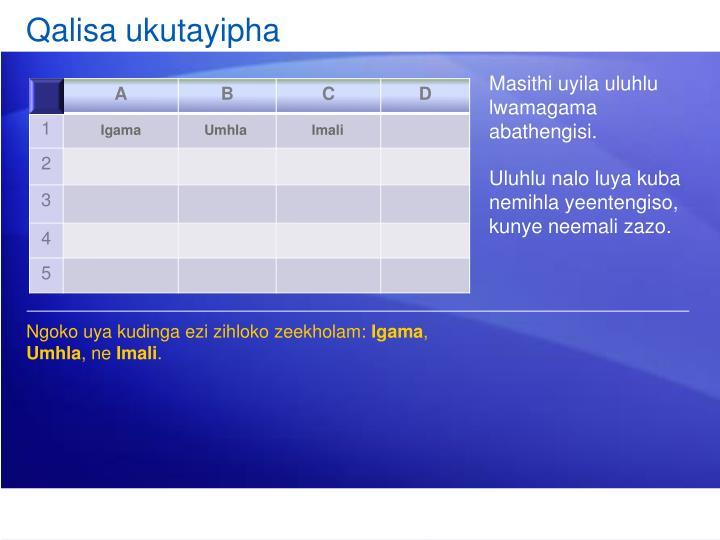 Qalisa ukutayipha