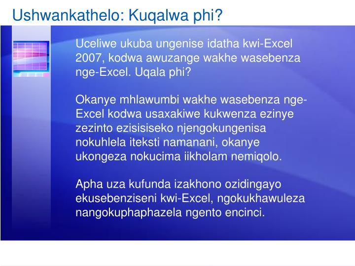 Ushwankathelo: Kuqalwa phi?
