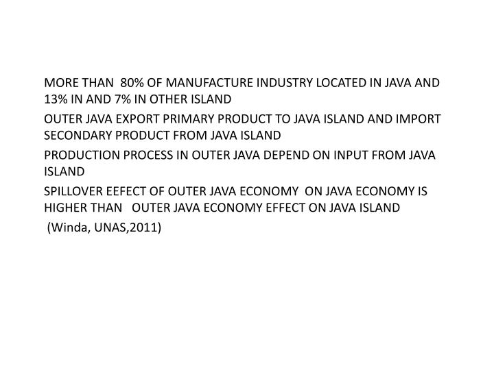 MORE THAN  80% OF MANUFACTURE INDUSTRY LOCATED IN JAVA AND 13% IN AND 7% IN OTHER ISLAND