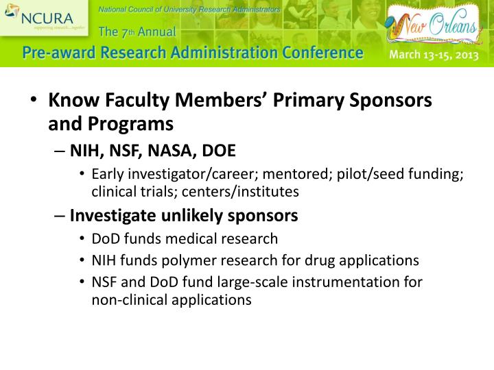 Know Faculty Members' Primary Sponsors and Programs