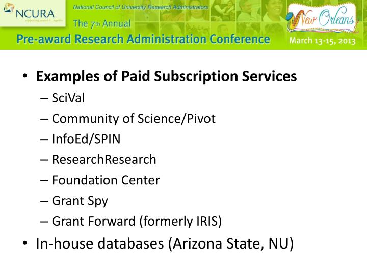 Examples of Paid Subscription