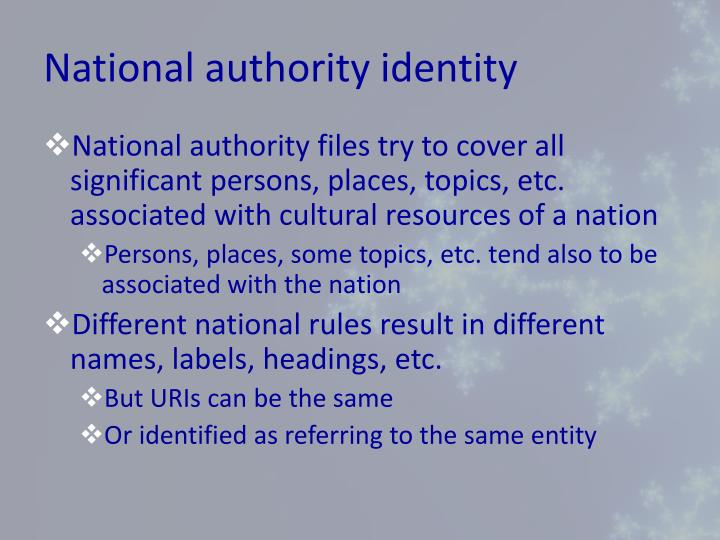 National authority identity