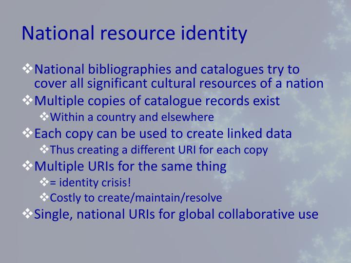 National resource identity