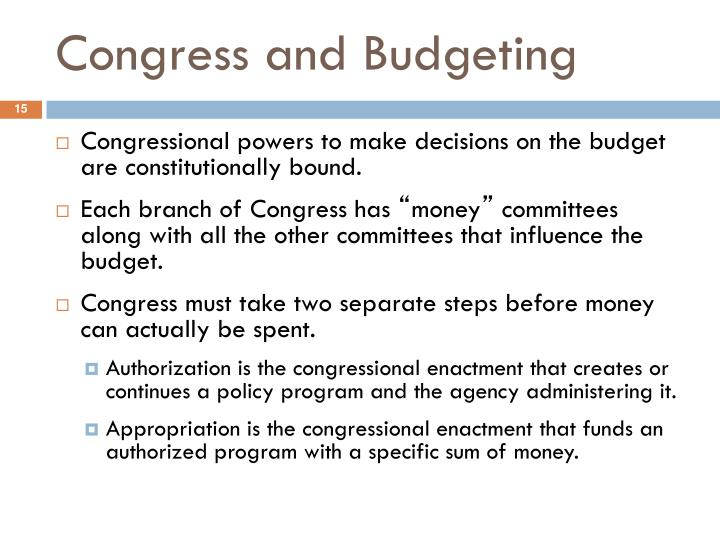 Congress and Budgeting