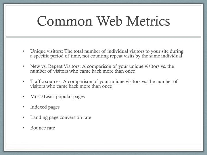 Common Web Metrics