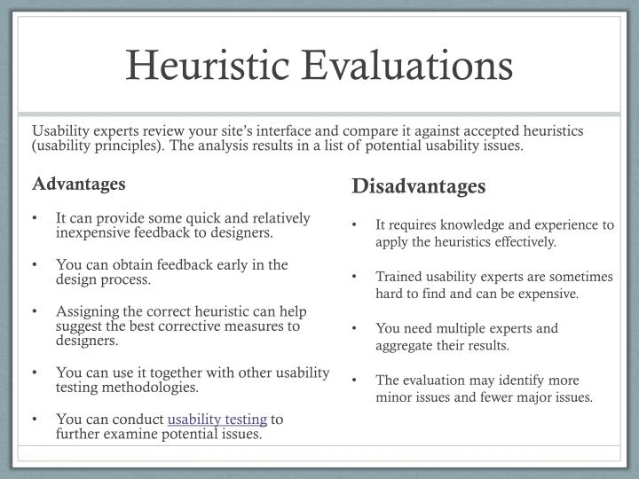 Heuristic Evaluations