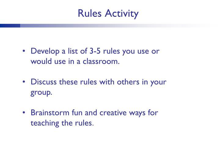 Rules Activity