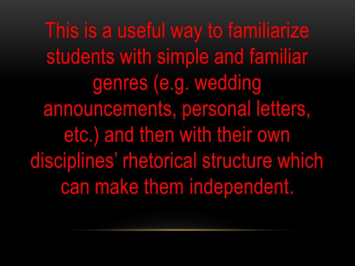 This is a useful way to familiarize students with simple and familiar genres