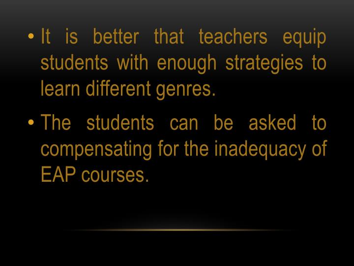 It is better that teachers equip students with enough strategies to learn different genres.