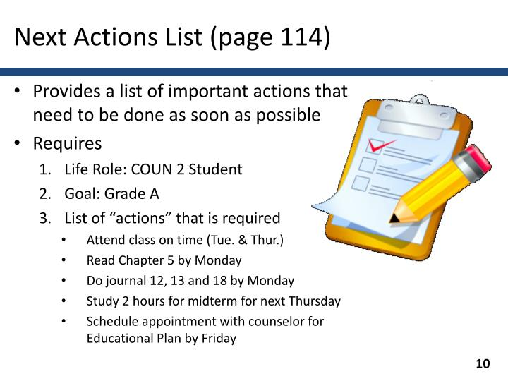 Next Actions List (page 114)