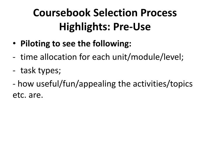 Coursebook selection process highlights pre use1