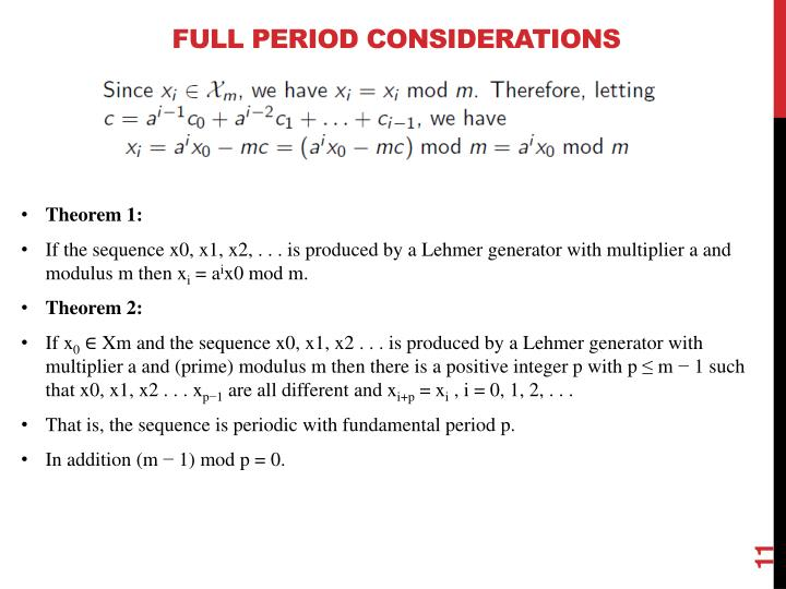 Full Period Considerations