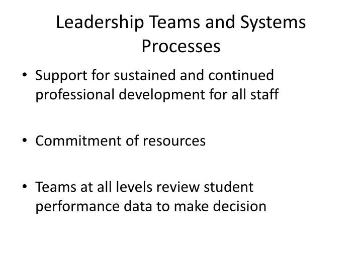 Leadership Teams and Systems Processes