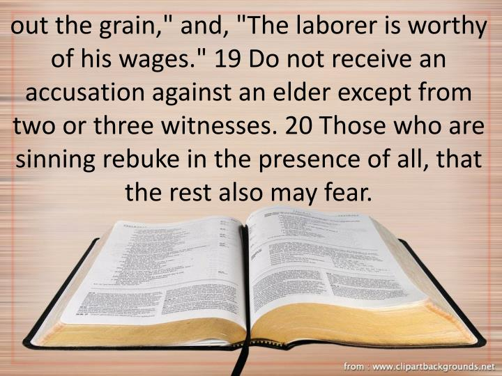 "out the grain,"" and, ""The laborer is worthy of his wages."" 19 Do not receive an accusation against an elder except from two or three witnesses. 20 Those who are sinning rebuke in the presence of all, that the rest also may fear."